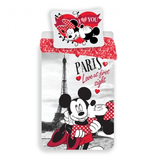 Obliečky Mickey a Minnie Paríž I love you 140/200, 70/90